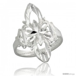 Sterling Silver Filigree Clover-shaped Floral Ring, 1 in