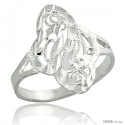 Sterling Silver Filigree Clover-shaped Swirl Ring, 3/4 in