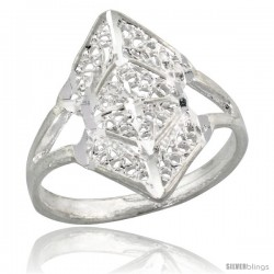 Sterling Silver Filigree Diamond-shaped Ring, 3/4 in