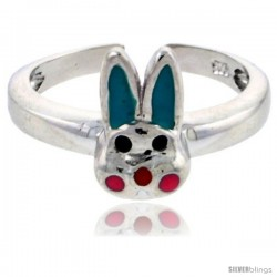 "Sterling Silver Child Size Rabbit Head Ring, w/ Aqua Green & Pink Enamel Design, 3/8"" (9 mm) wide"