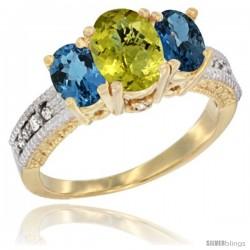 14k Yellow Gold Ladies Oval Natural Lemon Quartz 3-Stone Ring with London Blue Topaz Sides Diamond Accent