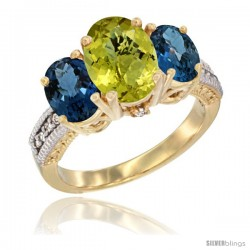 14K Yellow Gold Ladies 3-Stone Oval Natural Lemon Quartz Ring with London Blue Topaz Sides Diamond Accent