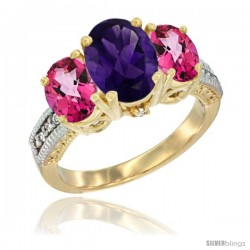 14K Yellow Gold Ladies 3-Stone Oval Natural Amethyst Ring with Pink Topaz Sides Diamond Accent