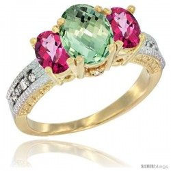 14k Yellow Gold Ladies Oval Natural Green Amethyst 3-Stone Ring with Pink Topaz Sides Diamond Accent