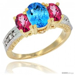 14k Yellow Gold Ladies Oval Natural Swiss Blue Topaz 3-Stone Ring with Pink Topaz Sides Diamond Accent