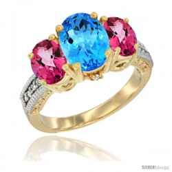 14K Yellow Gold Ladies 3-Stone Oval Natural Swiss Blue Topaz Ring with Pink Topaz Sides Diamond Accent
