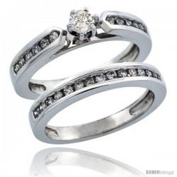 10k White Gold 2-Piece Diamond Engagement Ring Band Set w/ 0.56 Carat Brilliant Cut Diamonds, 1/8 in. (3mm) wide