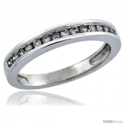10k White Gold Ladies' Diamond Ring Band w/ 0.21 Carat Brilliant Cut Diamonds, 1/8 in. (3mm) wide