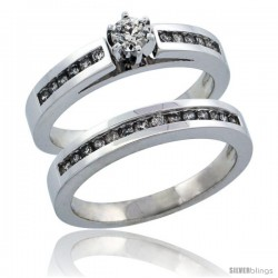 10k White Gold 2-Piece Diamond Engagement Ring Band Set w/ 0.42 Carat Brilliant Cut Diamonds, 1/8 in. (3mm) wide