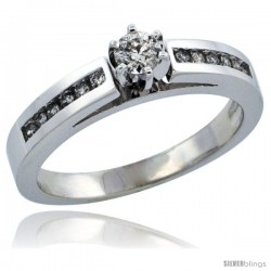 10k White Gold Diamond Engagement Ring w/ 0.28 Carat Brilliant Cut Diamonds, 1/8 in. (3mm) wide