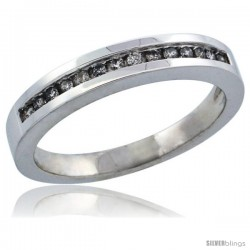 10k White Gold Ladies' Diamond Ring Band w/ 0.14 Carat Brilliant Cut Diamonds, 1/8 in. (3mm) wide -Style 10w925lb