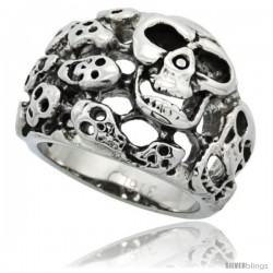 Surgical Steel Biker Skull Ring Yard Domed 3/4 in long