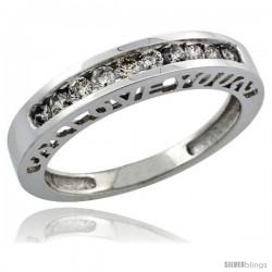 10k White Gold Ladies' Diamond Ring Band w/ 0.28 Carat Brilliant Cut Diamonds, 5/32 in. (4mm) wide