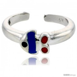 "Sterling Silver Child Size Fish Ring, w/ Blue & Red Enamel Design, 1/4"" (6 mm) wide"