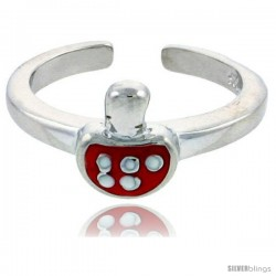 "Sterling Silver Child Size Mushroom Ring, w/ Red Enamel Design, 5/16"" (8 mm) wide"