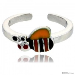 """Sterling Silver Child Size Bumble Bee Ring, w/ Yellow, Black & Orange Enamel Design, 1/4"""" (6 mm) wide"""