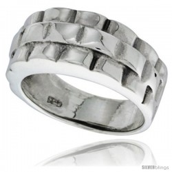 Sterling Silver Basket Weave Design Wedding Band Ring 3/8 wide