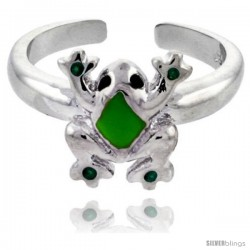 "Sterling Silver Child Size Frog Ring, w/ Green Enamel Design, 3/8"" (10 mm) wide"