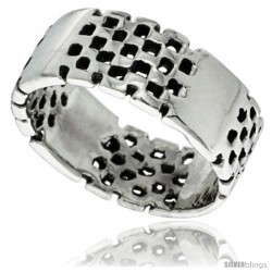 Sterling Silver Checkerboard Wedding Band Ring 5/16 in wide
