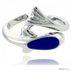 "Sterling Silver Child Size Dolphin Ring, w/ Blue Enamel Design, 7/16"" (11 mm) wide"