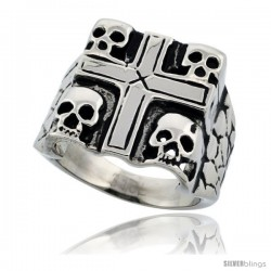 Surgical Steel Biker Ring 4 Skulls in a Cross 3/4 in long