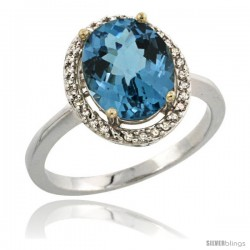 Sterling Silver Diamond Natural London Blue Topaz Ring 2.4 ct Oval Stone 10x8 mm, 1/2 in wide -Style Cwg05114