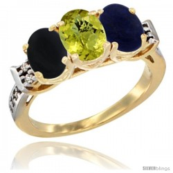 10K Yellow Gold Natural Black Onyx, Lemon Quartz & Lapis Ring 3-Stone Oval 7x5 mm Diamond Accent