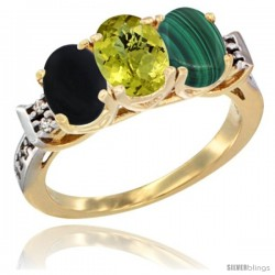 10K Yellow Gold Natural Black Onyx, Lemon Quartz & Malachite Ring 3-Stone Oval 7x5 mm Diamond Accent