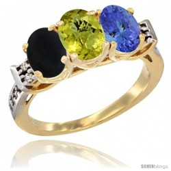 10K Yellow Gold Natural Black Onyx, Lemon Quartz & Tanzanite Ring 3-Stone Oval 7x5 mm Diamond Accent