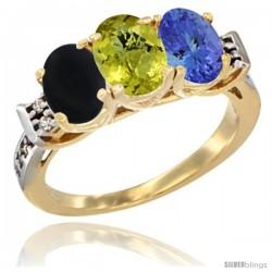 10K Yellow Gold Natural Black Onyx, Lemon Quartz & Tanzanite Ring 3-Stone Oval 7x5 mm Diamond Accent