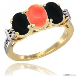 10K Yellow Gold Natural Coral & Black Onyx Sides Ring 3-Stone Oval 7x5 mm Diamond Accent