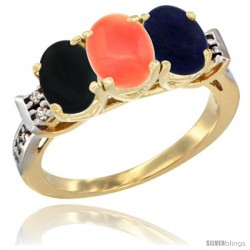 10K Yellow Gold Natural Black Onyx, Coral & Lapis Ring 3-Stone Oval 7x5 mm Diamond Accent