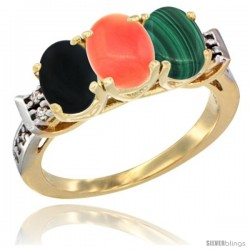 10K Yellow Gold Natural Black Onyx, Coral & Malachite Ring 3-Stone Oval 7x5 mm Diamond Accent