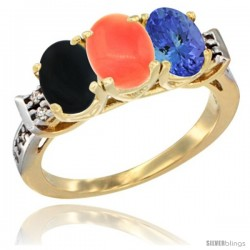 10K Yellow Gold Natural Black Onyx, Coral & Tanzanite Ring 3-Stone Oval 7x5 mm Diamond Accent
