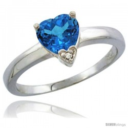 14K White Gold Natural Swiss Blue Topaz Heart-shape 7x7 Stone Diamond Accent