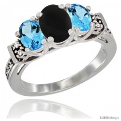 14K White Gold Natural Black Onyx & Swiss Blue Topaz Ring 3-Stone Oval with Diamond Accent
