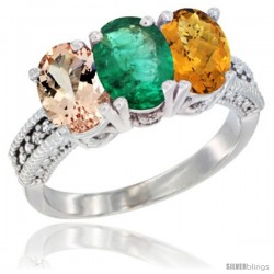 14K White Gold Natural Morganite, Emerald & Whisky Quartz Ring 3-Stone Oval 7x5 mm Diamond Accent