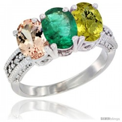 14K White Gold Natural Morganite, Emerald & Lemon Quartz Ring 3-Stone Oval 7x5 mm Diamond Accent