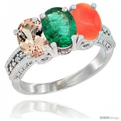 14K White Gold Natural Morganite, Emerald & Coral Ring 3-Stone Oval 7x5 mm Diamond Accent