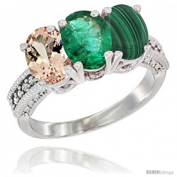 14K White Gold Natural Morganite, Emerald & Malachite Ring 3-Stone Oval 7x5 mm Diamond Accent