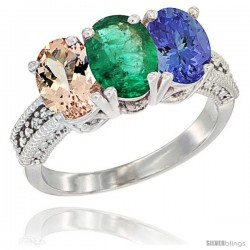 14K White Gold Natural Morganite, Emerald & Tanzanite Ring 3-Stone Oval 7x5 mm Diamond Accent