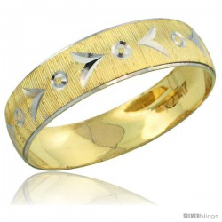 10k Gold Ladies' Wedding Band Ring Diamond-cut Pattern Rhodium Accent, 3/16 in. (4.5mm) wide -Style 10y507lb
