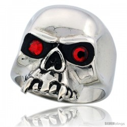 Surgical Steel Biker Skull Ring with Fangs Red CZ Eyes 15/16 in long