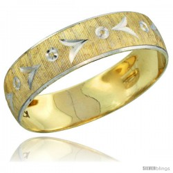 10k Gold Men's Wedding Band Ring Diamond-cut Pattern Rhodium Accent, 7/32 in. (5.5mm) wide -Style 10y507mb