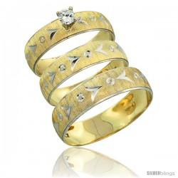10k Gold 3-Piece Trio Diamond Wedding Ring Set Him & Her 0.10 ct Rhodium Accent Diamond-cut Pattern -Style 10y507w3