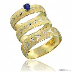 10k Gold 3-Piece Trio Blue Sapphire Wedding Ring Set Him & Her 0.10 ct Rhodium Accent Diamond-cut Pattern -Style 10y507w3