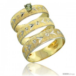 10k Gold 3-Piece Trio Green Sapphire Wedding Ring Set Him & Her 0.10 ct Rhodium Accent Diamond-cut Pattern -Style 10y507w3