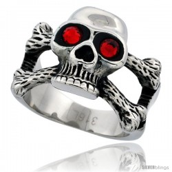Surgical Steel Biker Skull Ring and Cross Bones Red CZ Eyes 5/8 in long