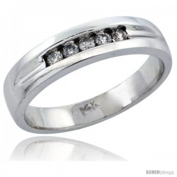 10k White Gold Ladies' Diamond Ring Band w/ 0.14 Carat Brilliant Cut Diamonds, 1/4 in. (6mm) wide