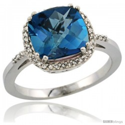 Sterling Silver Diamond Natural London Blue Topaz Ring 3.05 ct Cushion Cut 9x9 mm, 1/2 in wide